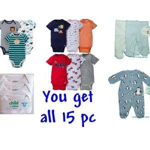 Preemie Bodysuit Pant Sleep Play Boys 15 pc Lot